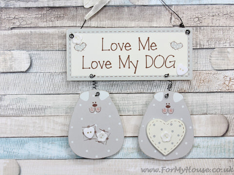 Love my dog grey plaque sign