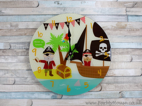 Pirate children's glass wall clock 33cm