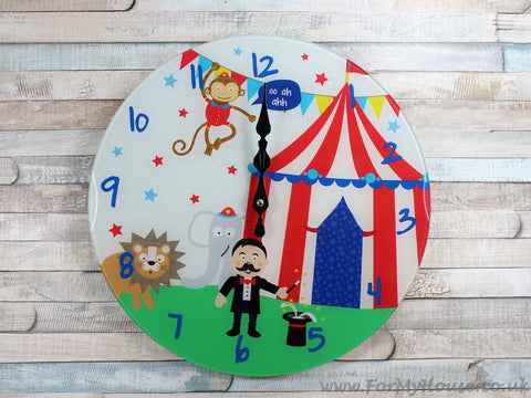 Circus glass children's wall clock 33cm