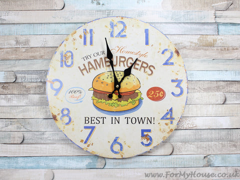 Hamburgers large wall clock