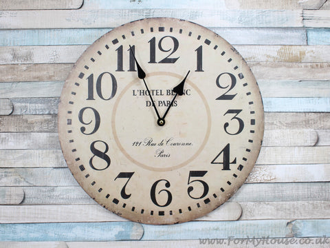 L'hotel Paris large wall clock 34cm