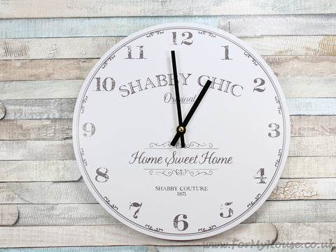 Shabby chic white wall clock 30cm