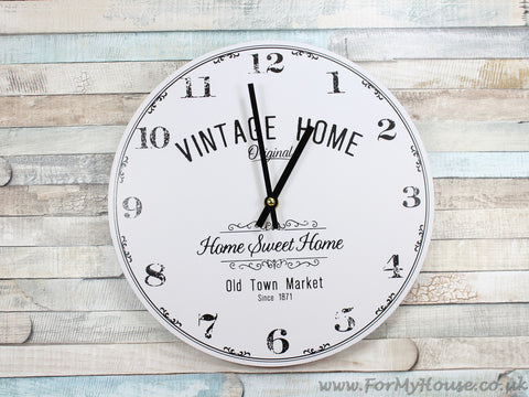 Vintage home white wall clock 30cm