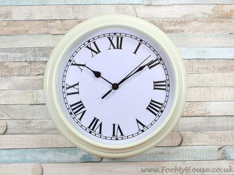 Cream railway style wall clock 28cm