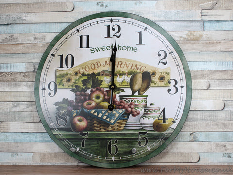 Home sweet home fruit large clock 46cm