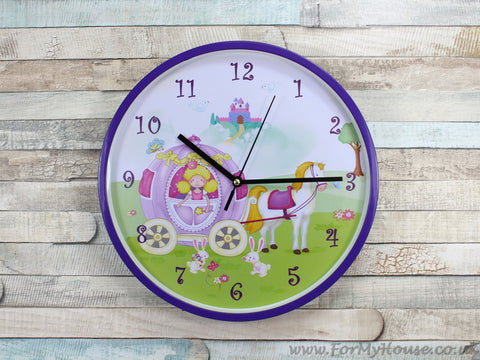 Purple princess wall clock 25cm