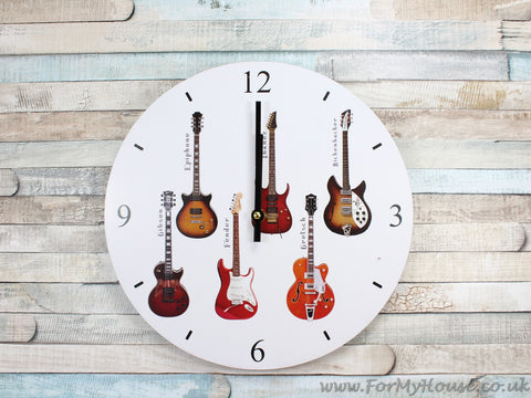 Guitars white wall clock 30cm