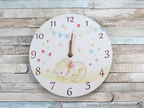 Bear hugs children's wall clock 25cm