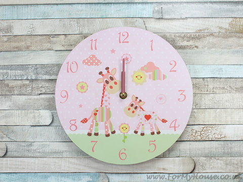 Little sunshine pink giraffe girls wall clock