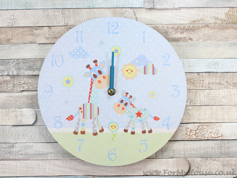 Little sunshine blue giraffe boys wall clock
