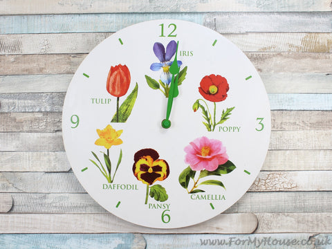 Flowers white wall clock 30cm LP22566