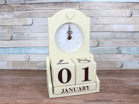Cream heart clock & perpetual calendar