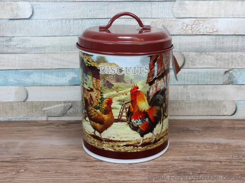Cockerel & hen metal biscuit canister