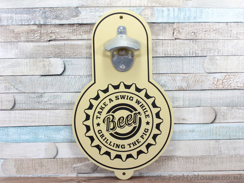 Beer bottle opener cream wood