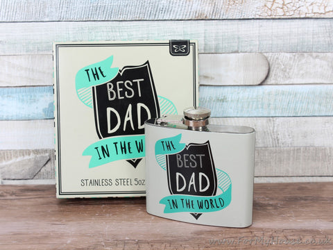The best dad in the world hip flask