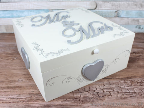 Large Mr & Mrs silver memory box