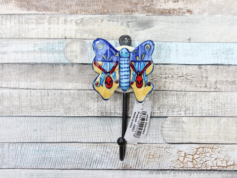 Large Blue/yellow ceramic butterfly coat hook