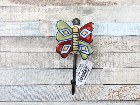 Large Red/green ceramic butterfly coat hook