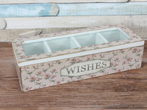 Vintage Pink floral WISHES trinket compartment box