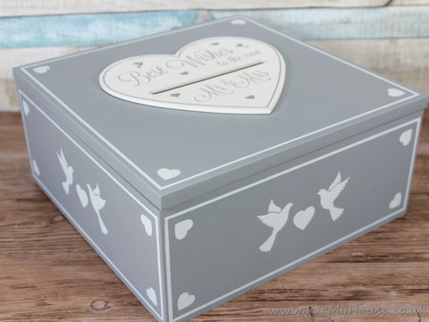 Best wishes to the new Mr & Mrs grey wedding box