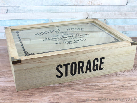 Large vintage home storage box with 4 compartments