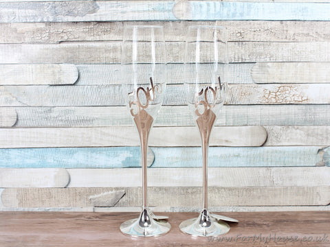 50th anniversary silver plated champagne flutes