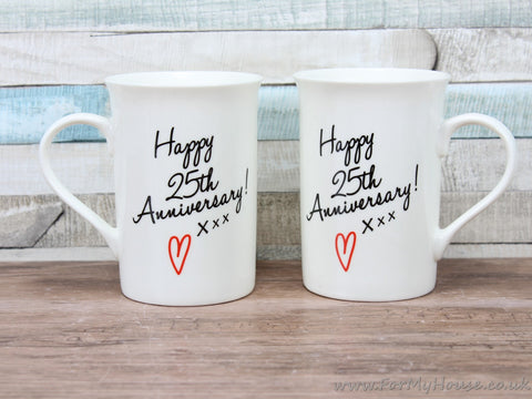 Happy 25th anniversary mug set