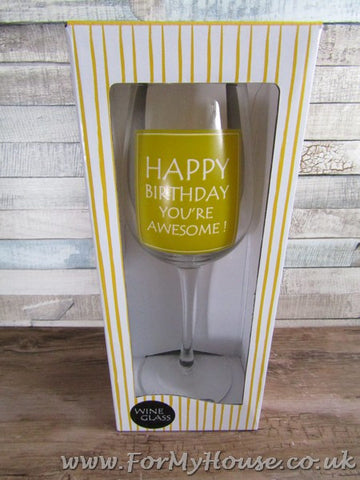 Happy birthday wine glass