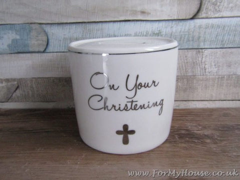 On your Christening white money box