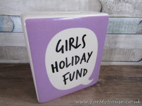 Girls holdiay fund purple money box