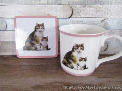 Ginger/brown tabby cat mug and coaster set fine china
