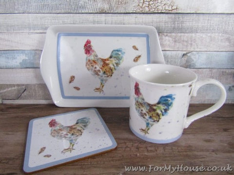 Cockerel mug coaster and tray set