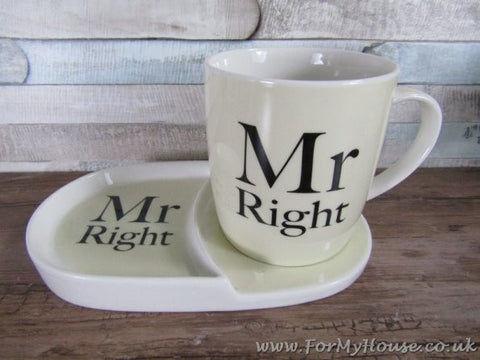 Mr right snack set mug and plate