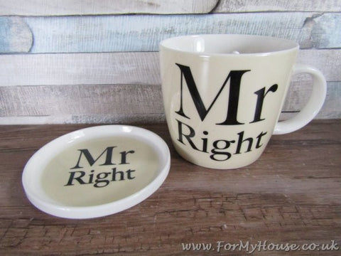 Mr  right mug and coaster set