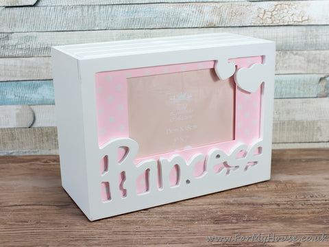 "Pink Polka Dot Princess Photo Box - Holds 60 5X7"" Photos"