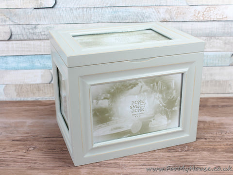 "Sage Green Shabby Chic Photo Box - Holds 96 4X6"" Photos"