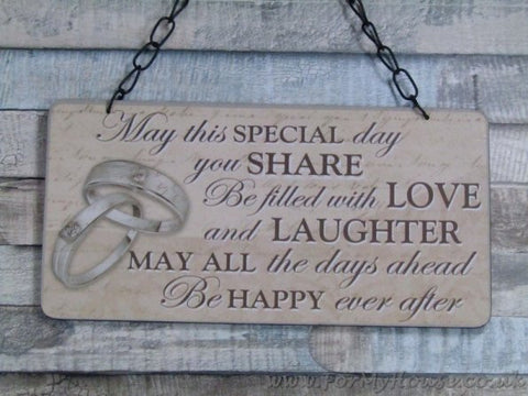 Wedding May this special day you share plaque sign