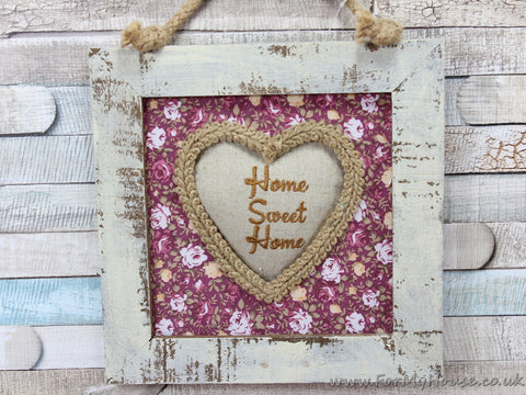Ditsy Floral White Shabby Chic Home Sweet Home Hanging Picture Frame