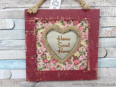 Ditsy Floral Maroon Shabby Chic Home Sweet Home Hanging Picture Frame