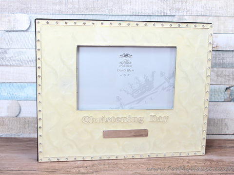 "4X6"" Cream Marble Effect Christening Guest Book Photo Frame"