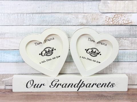 "3.5X3.5"" Cream Our Grandparents Double Heart Photo Frame"