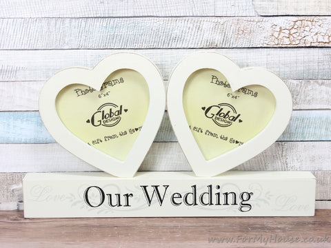 "3.5X3.5"" Cream Our Wedding Double Heart Photo Frame"
