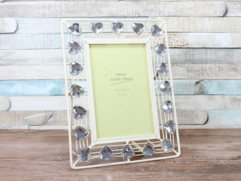 "4X6"" Cream Metal Photo Frame With Heart Gems"