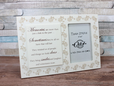 "4X6"" Memories Are More Than A Link To The Past... Cream Wooden Remembrance Photo Frame"