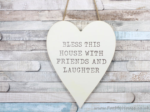 Cream Wooden Hanging Heart Plaque Bless This House With Friends