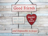 Multicoloured Shabby Chic Good Friends Are Hard To Find Metal Hanging Plaque Friendship Gift