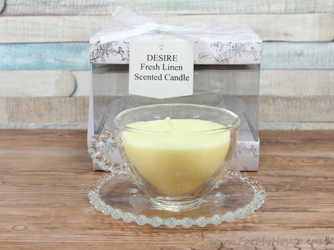 Desire Fresh Linen Scented Candle In A Glass Teacup With Saucer
