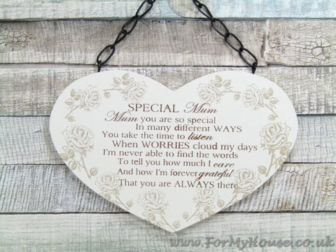 Heart roses Special Mum plaque sign