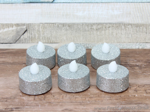 Set of 6 silver glitter LED tea light candles
