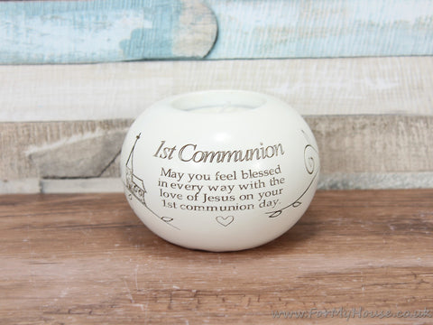 Said with sentiment 1st Communion White Tea light candle holder